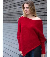 ponczo z długim rękawem czerwone
