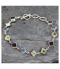multi-gemstone link bracelet, 'delicate gaze' (india)
