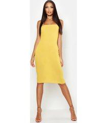 bandeau midi dress, mustard