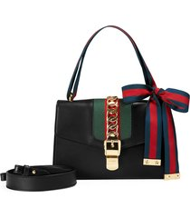 gucci small leather shoulder bag - black