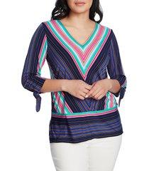women's chaus stripe tie cuff top, size medium - blue