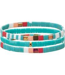 eye candy la women's luxe mila 3-piece goldtone & enamel stretch bracelet set