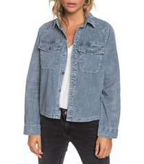 women's roxy be right there corduroy shirt jacket, size x-large - blue