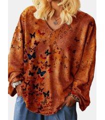 camicetta casual da donna con scollo a v a maniche lunghe con stampa a farfalla
