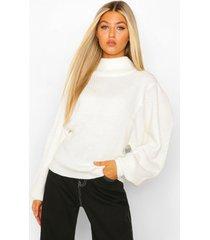 tall balloon sleeve high neck sweater, ivory