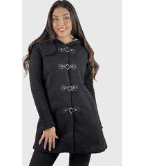 abrigo algodón y lana mujer hippie negro enigmática boutioque