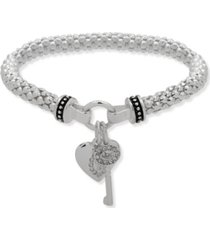 nine west boxed heart and key stretch bracelet