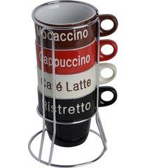 conjunto 4 xícaras p/café de porcelana c/ suporte names ii 220ml