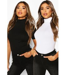 2 pack 3/4 sleeve roll neck top, blackwhite