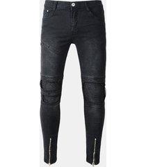 uomo jeans neri slim fit a strappi da ciclista con zip a pieghe