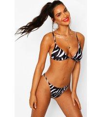 zebra print itsy bitsy triangle bikini, black