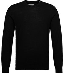 jjemark merino knit crew neck noos stickad tröja m. rund krage svart jack & j s