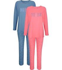 pyjama blue moon jeansblauw/koraal