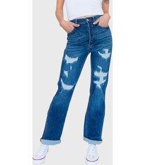 jeans dad roto tiro alto nashville azul racaventura