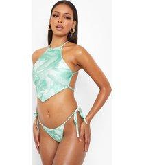 hoog uitgesneden marmerprint ming lee bikini broekje, green