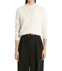 women's the row carbonia cashmere cardigan, size large - ivory