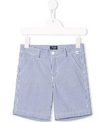 il gufo checked straight-leg shorts - blue