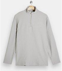 mens grey herringbone 1/4 funnel neck sweatshirt