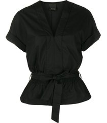 pinko belted peplum shirt - black