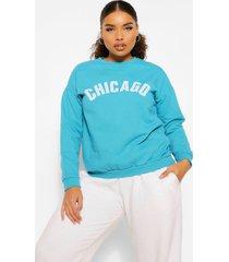 plus oversized chicago sweater, blauwgroen