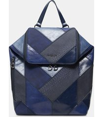 backpack mosaic leather effect - blue - u