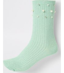 river island womens light green pearl trim ankle socks