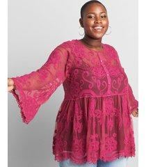 lane bryant women's embroidered mesh babydoll top 34/36 festival fuchsia