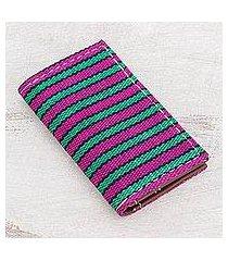 leather accent cotton wallet, 'san antonio stripes' (guatemala)