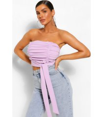 bandeau top met ruches en knoop detail, lila
