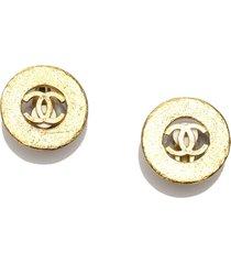 chanel cc clip-on earrings gold sz: