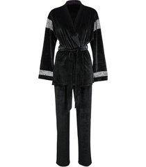 pyjama's / nachthemden lisca koninklijke wens zwart fluwelen pyjama interieurset