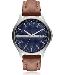 armani exchange designer men's watches, hampton brown leather men's watch