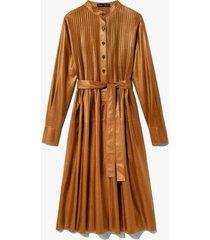 pintuck leather dress