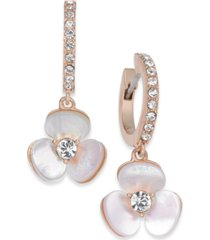 kate spade new york 14k rose gold-plated pave & mother-of-pearl flower drop earrings