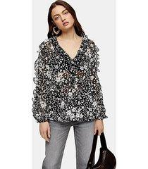 animal floral print chiffon blouse - monochrome