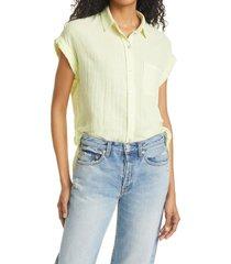 women's rails whitney stripe camp shirt, size x-small - yellow