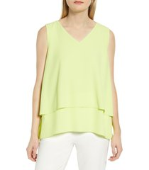 women's chaus tiered v-neck blouse, size large - blue