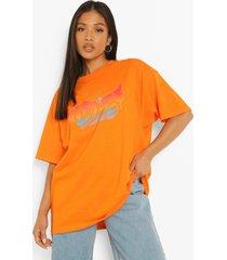 petite graffiti love t-shirtjurk, apricot