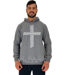 blusa moletom masculino alto conceito crucifixo motivacional mescla escuro