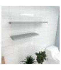 kit 2 prateleiras banheiro em mdf sup. inivisivel cinza 1 60x20cm 1 90x20cm modelo pratbnc35