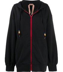 nº21 oversized nude beach hooded jacket - black