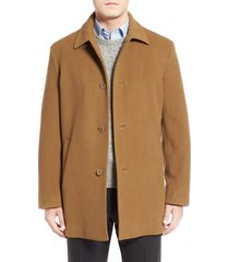 men's cole haan italian wool blend overcoat, size large - beige