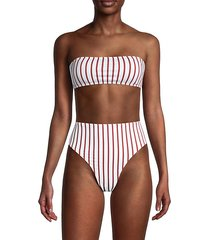 rosy striped bandeau bikini top