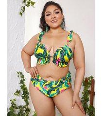 bikini sin mangas con ribete de volantes y espalda descubierta tropical de talla grande diseño