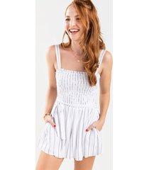women's page stripe tie waist romper in white by francesca's - size: 3x