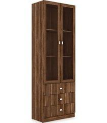 armário 3 gavetas e 2 portas com vidro videira nogal