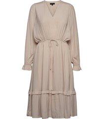 slfcallie-damina ls midi dress b jurk knielengte grijs selected femme
