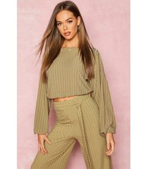 recycled rib balloon sleeve top, olive