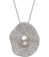 "belle de mer cultured freshwater pearl (8mm) & cubic zirconia 18"" pendant necklace in sterling silver"