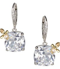 cz by kenneth jay lane women's 14k goldplated, rhodium-plated & crystal cushion bee drop earrings